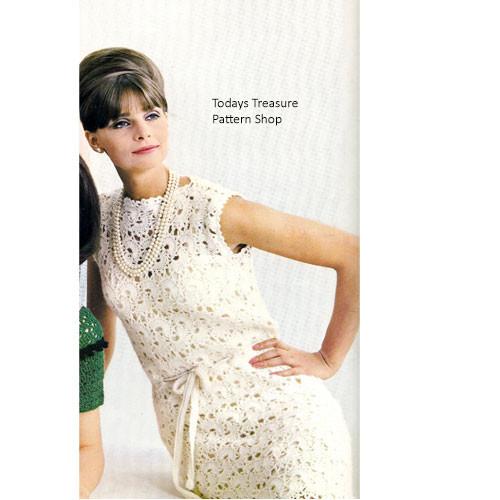 Crochet Lace Dress Pattern, Vintage 1960s