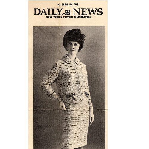 Vintage 1960s Crochet Two Piece Suit Pattern