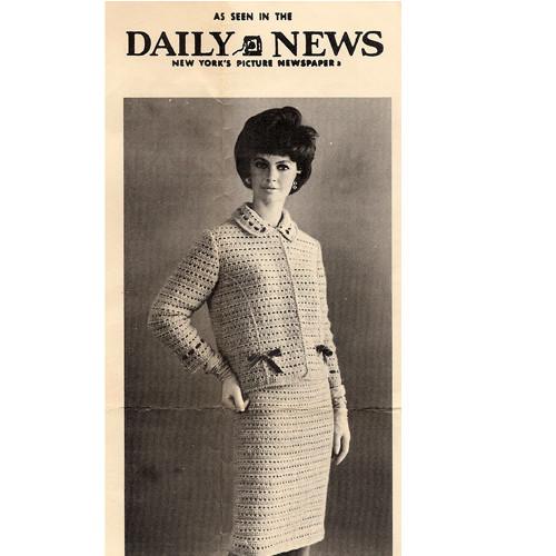 Vintage 1960s Crochet Two Piece Suit Pattern