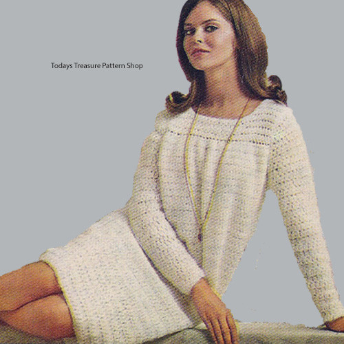 Long Sleeve Crochet Angle Dress Pattern