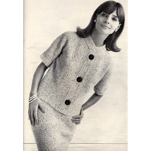 Crochet Tweed Two Piece Dress Pattern, Vintage 1950s