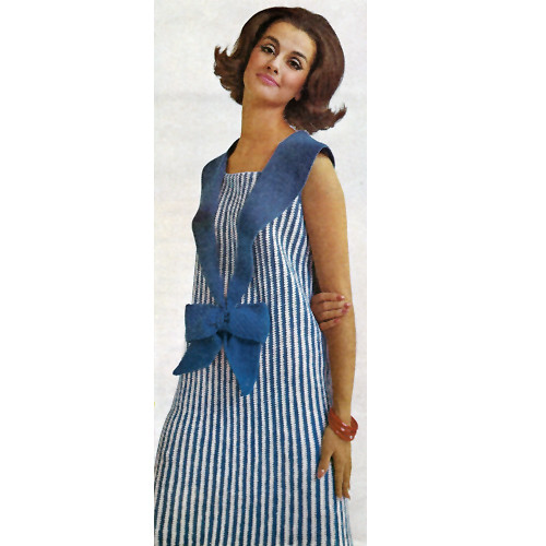 Crochet Sleeveless Sailor Dress Pattern, Vintage 1950s