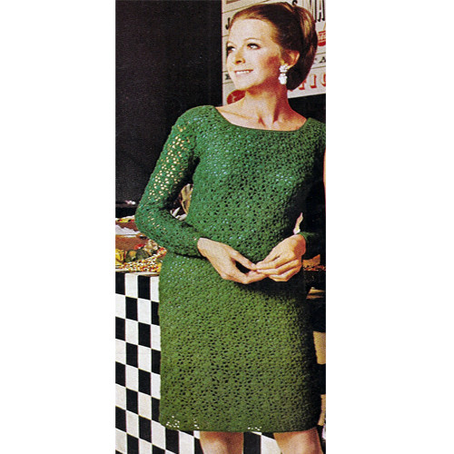 Crocheted Long Sleeve Evening Dress Pattern