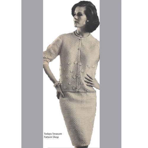 Vintage Crochet Suit Pattern, Cardigan & Skirt
