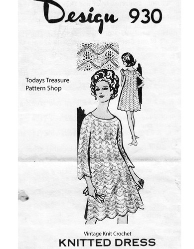 Knitted Sleeveless Dress Pattern, Shell Stitch, Mail Order Design 930