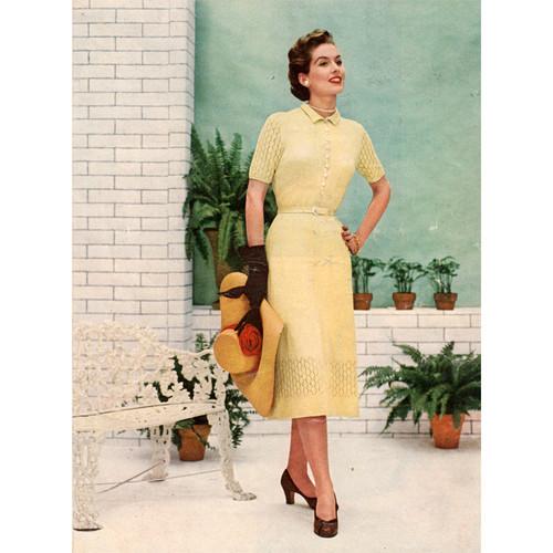 Lace Dress Knitting Pattern, Vintage 1950s