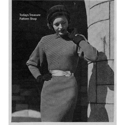Vintage Dress Knitting Pattern with Dolman Sleeves