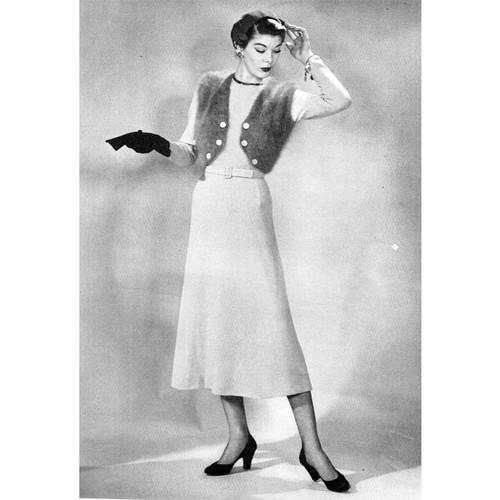 Vintage Knitted Bolero Dress Pattern