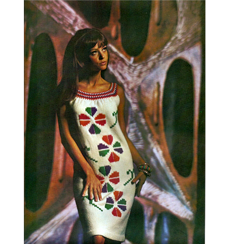 Knitting Pattern Flower Embroidery Dress