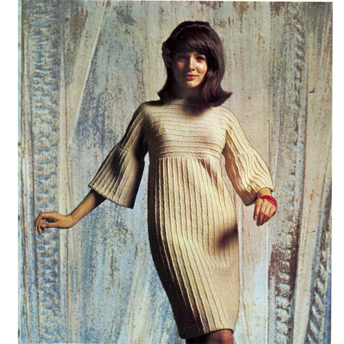 Vintage Raised Rib Knitted Dress Pattern