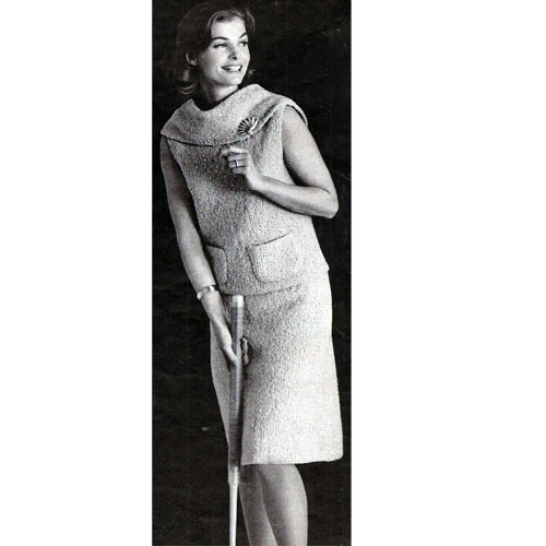 Two Piece Cowl Neck Collar Dress Knitting Pattern