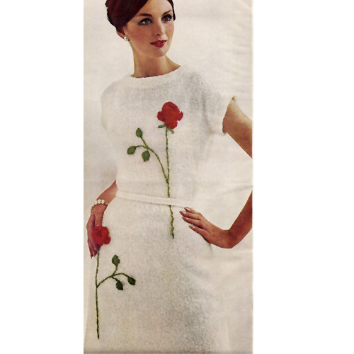 Knitted Short Sleeve Dress Pattern with Rose Embroidery