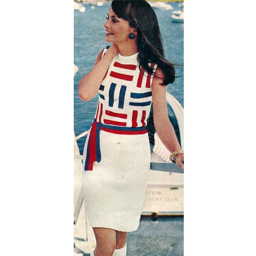 Sleeveless Knitted Dress Pattern with Geometric Bodice