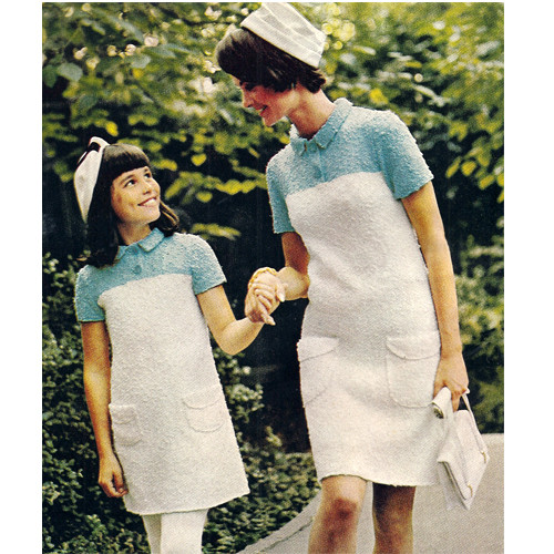 Knitting Pattern Mother Daughter Short Sleeve Dress Pattern