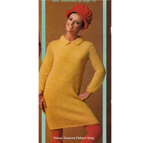 Knitting Pattern, Long Sleeve Ribbed Pullover Dress