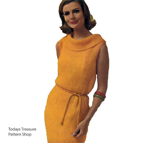 Knitted Mohair Dress Pattern with Ring Collar