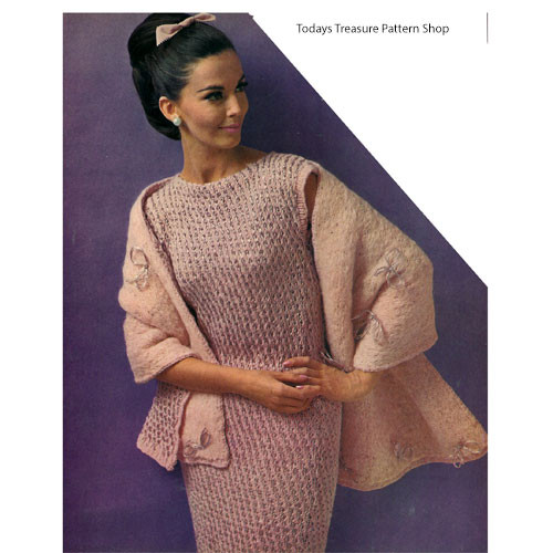 Knitted Pullover Dress Pattern with Stole
