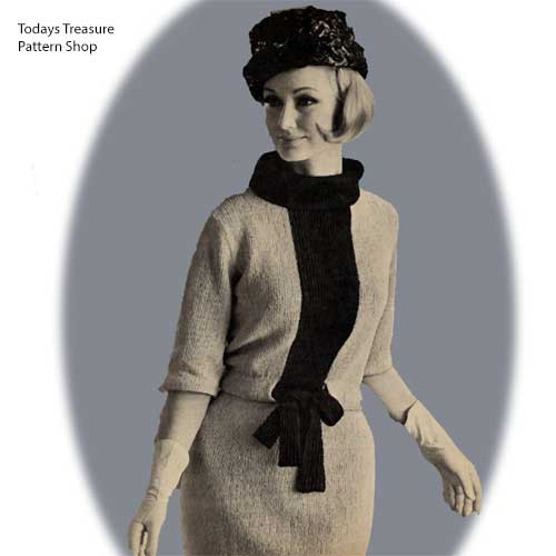 Cowl Neck Stripe Dress Knitting Pattern