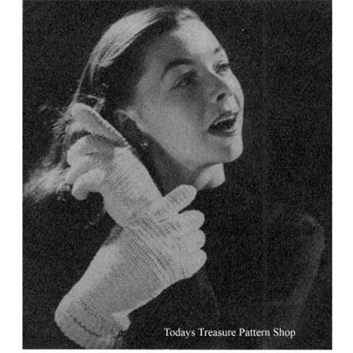 Crocheted Wool Gloves Pattern, Vintage 1940s