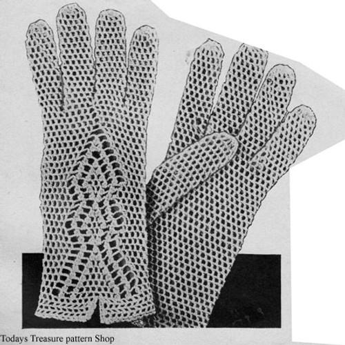 Mesh Gloves Crochet Pattern, Vintage 1950s