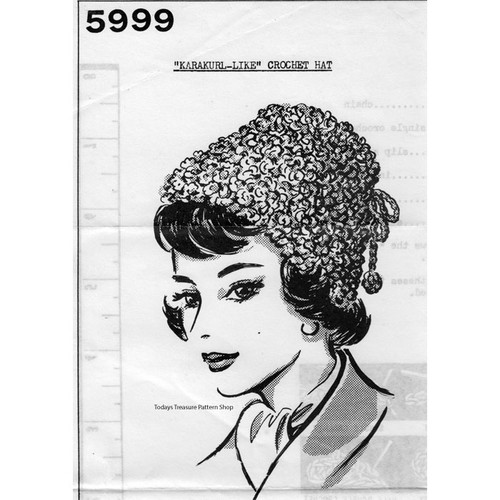 Mail Order Design 5999, Crochet Toque Hat Pattern