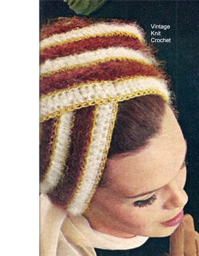 Vintage Crochet Turban Pattern, Mohair with Metallic Threads