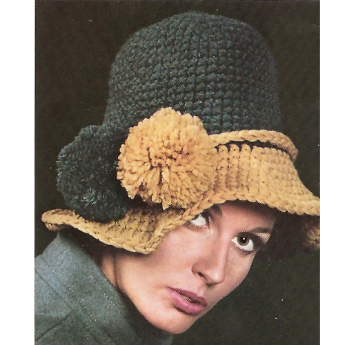 Crochet Floppy Brimmed Hat Pattern with Pompom