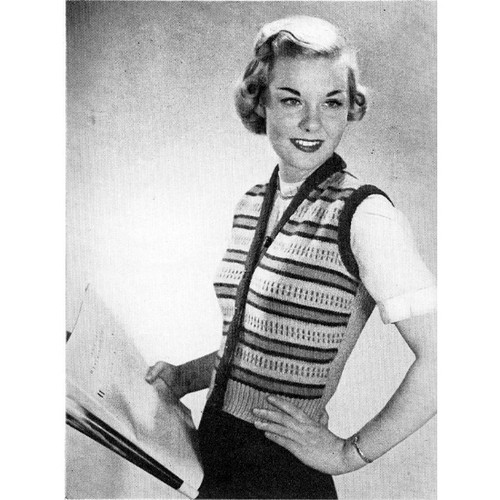 Knitting pattern Vintage Striped Vest