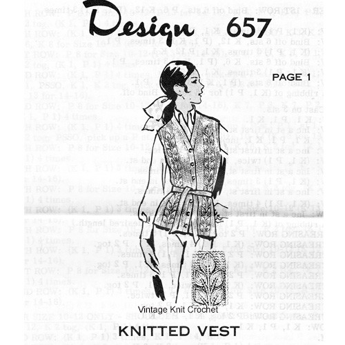 Leaf Knitted Vest Pattern, Design 657