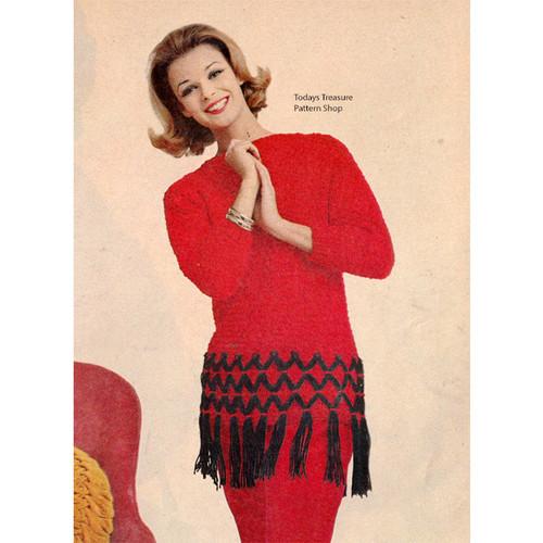 Knitting Pattern, Vintage Fringed Pullover Pattern
