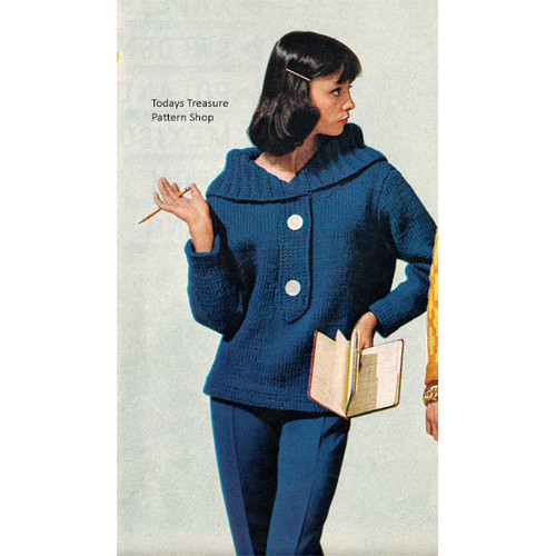 Large Collar Knitted Pullover Pattern