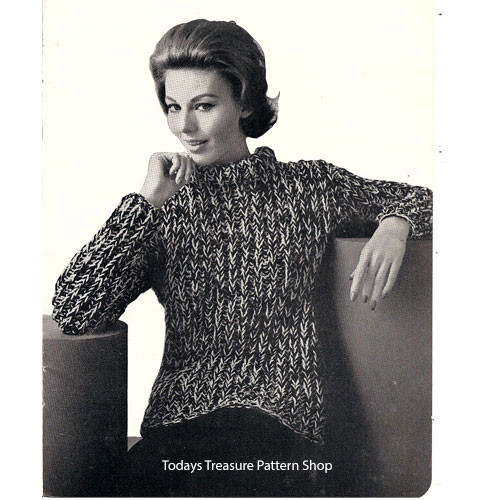 Bulky Tweed Sweater Knitting Pattern
