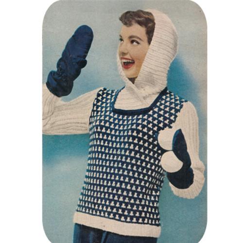 Knitting Pattern Hooded Stripe Pullover