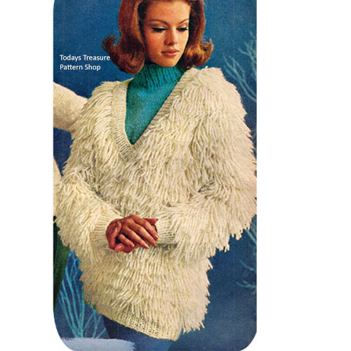 V-Neck Shaggy Pullover Knitting Pattern Vintage 1960s