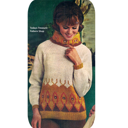 Vintage Knitted Pullover Pattern with Motif Design