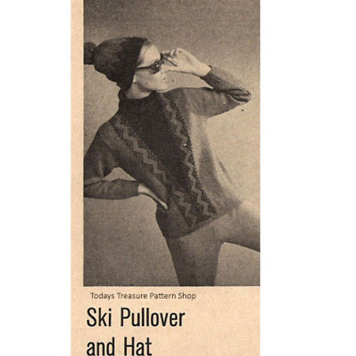 Vintage Ski Sweater Knitting Pattern with V-Paneled Front