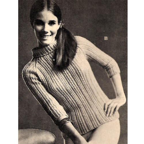 Knitting Pattern Raglan Turtleneck with three quarter sleeves