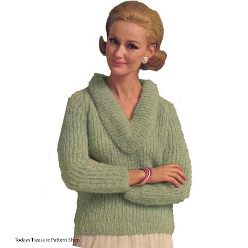 Vintage V-Cowl Neck Pullover Knitting Pattern