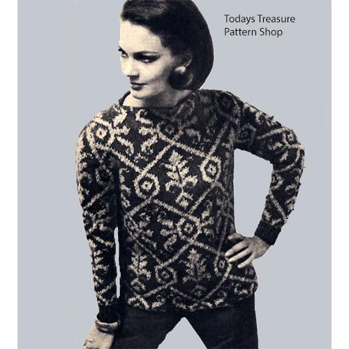 Motif Ski Sweater Knitting Pattern