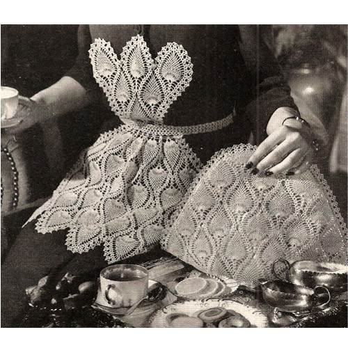 Vintage Pineapple Apron Crochet Pattern with Tea Cozy