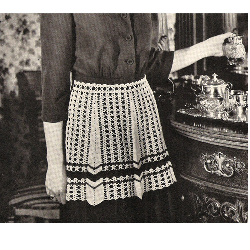 Crochet Striped Apron Pattern, Vintage 1950s