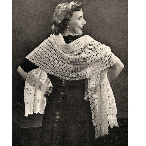 Vintage Lace Stole Crochet Pattern in Shell Stitch
