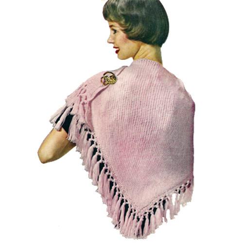 Crochet Fringed Triangle Stole Pattern