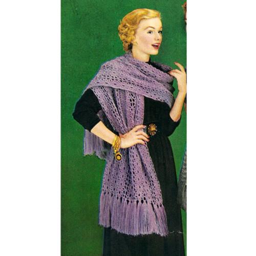 Crochet Fringed Stole Pattern, Vintage 1960s