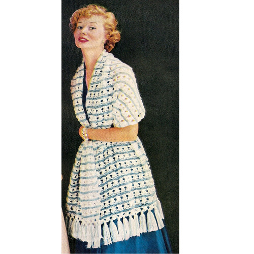 Crochet Tassel Stole Pattern, Vintage 1960s