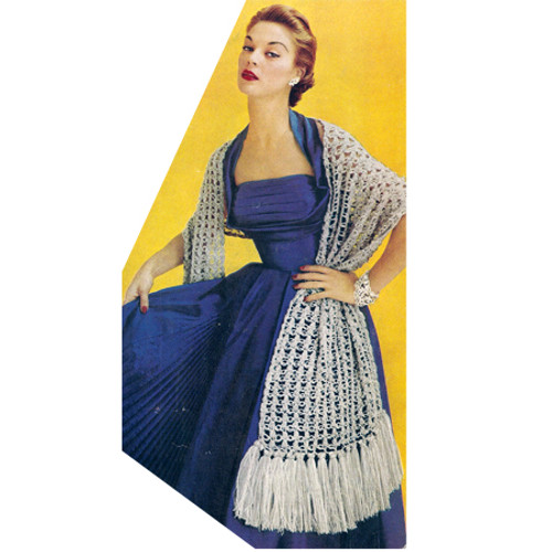 Extra Long Crocheted Stole Pattern with Fringed Ends