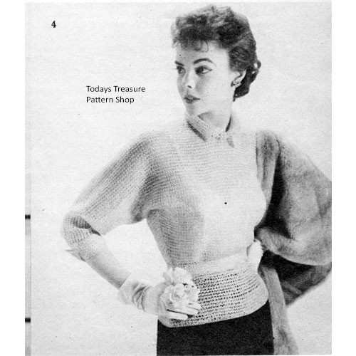 Vintage Crochet Ribbon Blouse with Dolman Sleeves