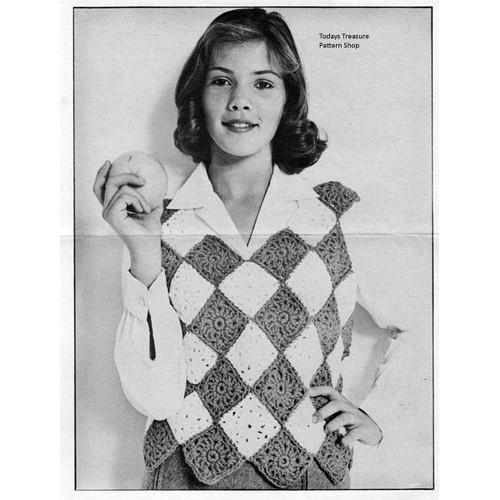 Crochet Harlequin Shell Pattern, Vintage 1950s