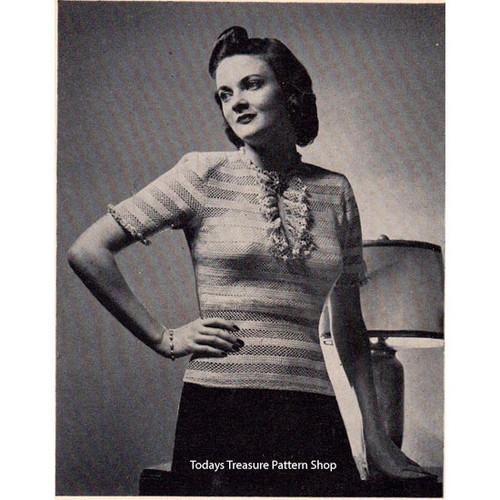 Vintage Crochet Jabot Blouse Pattern in striped stitch