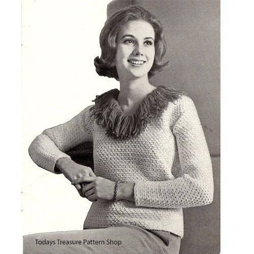 Fringed Collar Crochet Sweater Pattern